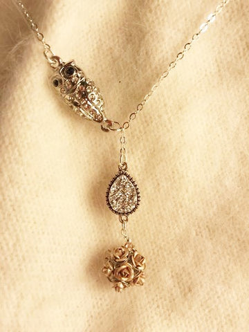 Rose Gold Toned Flower Bead Pendant with Druzy Quartz