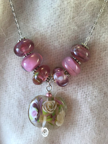 Pink Lampwork Bead Necklace with Flower Focal