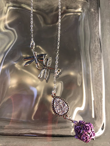 Purple Roses Bead Pendant with Druzy Quartz