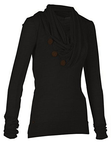 Women's Sport Casual Long Sleeve Knitted Draped Button Blouse Top