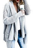 FISACE Women's Loose Fit Long Sleeve Knitted Cardigan Sweaters Outerwear with Pocket