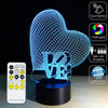 3D Love Heart LED Lamp - 3D Led Lamps