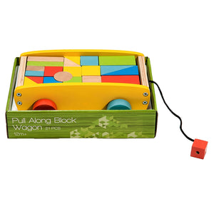 BooKid Durable and Colorful Wooden Blocks Wagon Toy for Toddlers