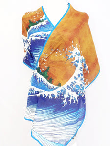Silk Crepe Scarf - Great Wave