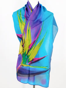 Silk Crepe Scarf - Bird of Paradise
