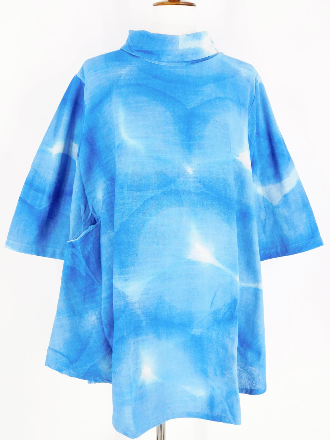 Cowl Neck Pullover - Water Drops Batik - Blue