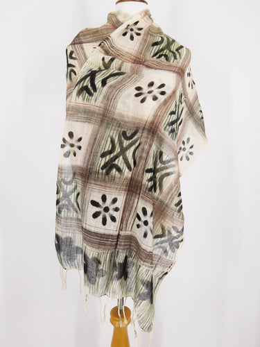Fringe Scarf/Stole - Checkered/Flower