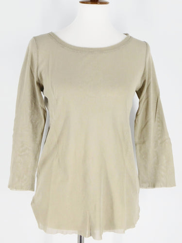 3/4 Sleeve Layering Tee - 100% Cotton Tulle - Lentil