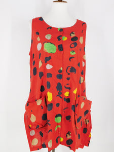 Funky Pocket Vest - Bubble Print - Red