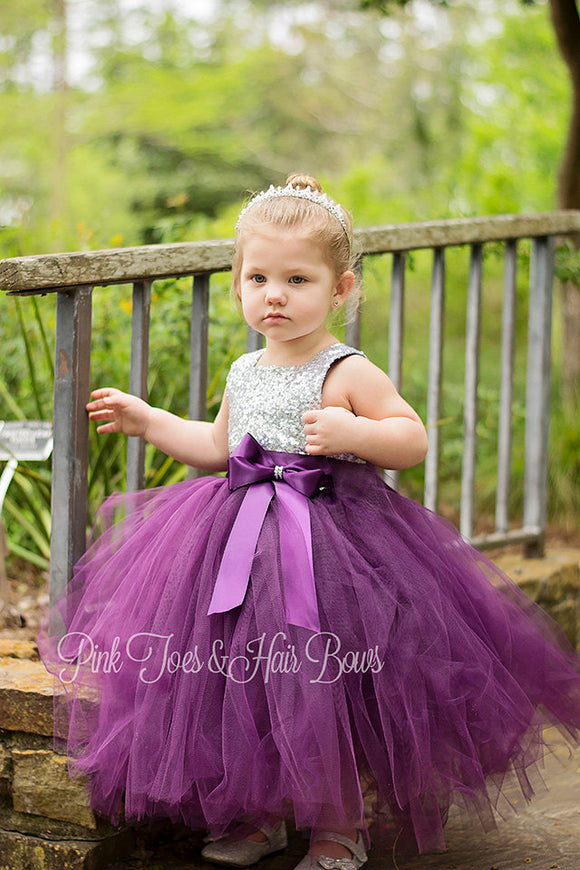 Flower girl dress-birthday dress-plum flower girl dress-silver sequin dress-fall flower girl dress