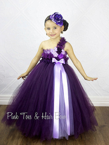 Flower girl dress-Plum Flower girl dress-The Khloe