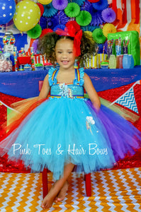 Rainbow Dash Dress- Rainbow Dash Tutu Dress- My little pony tutu- My little pony Birthday Dress