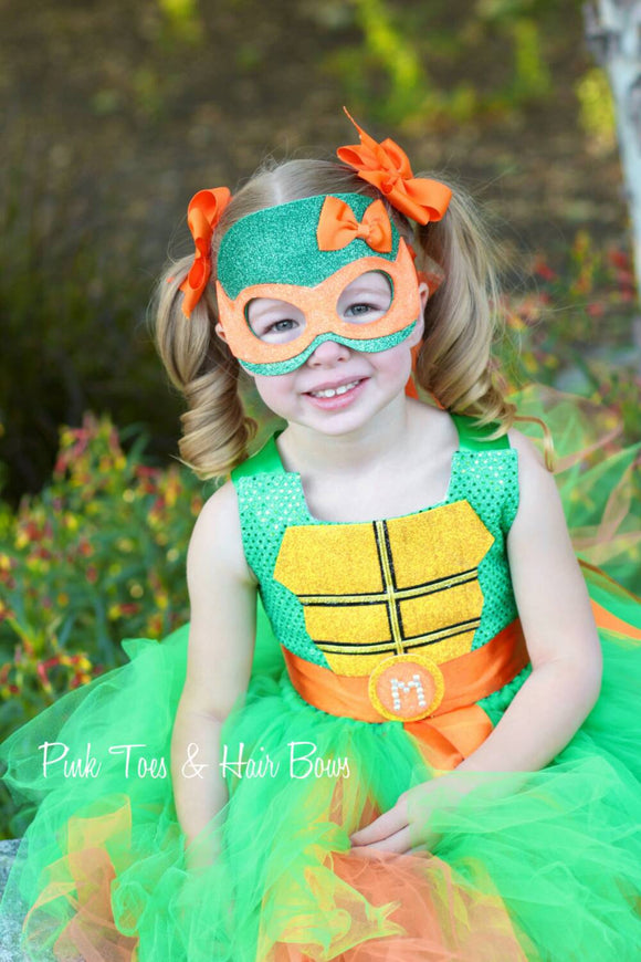 Teenage mutant ninja turtle costume- tmnt costume- orange tmnt dress- tmnt tutu dress-tmnt tutu