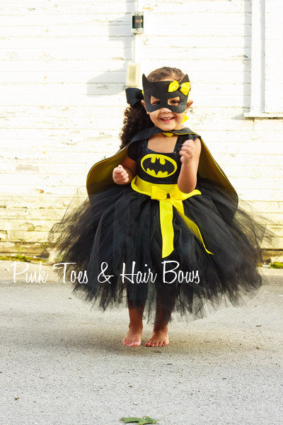 Batgirl costume- Bat girl tutu costume- Batman costume dress- Batman dress-Batman tutu