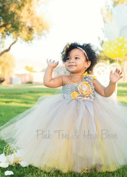 Flower girl dress-Gray and Yellow Flower girl dress-The Lundin