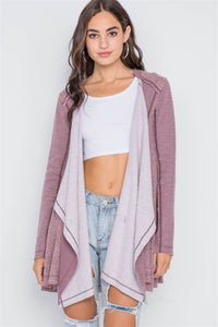 Mauve Knit Draped Front Long Sleeve Cardigan
