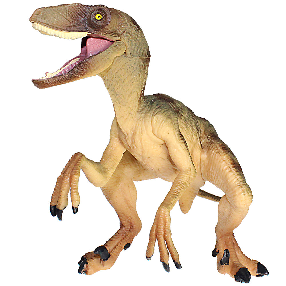 Velociraptor Figure with Movable Jaw Brown Height 3.5-inch