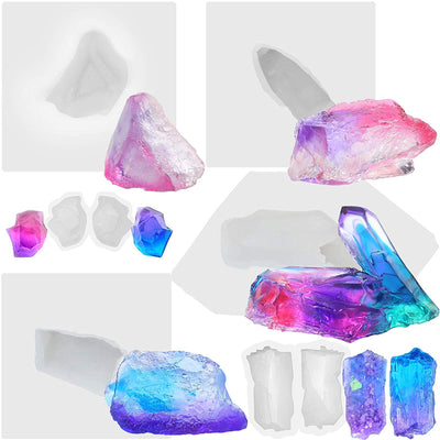 Assorted Quartz Crystal Resin Molds 6-Count