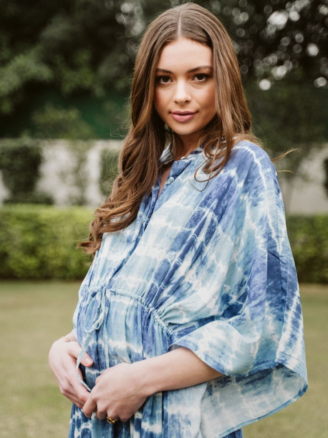 Black Clip dot top with tassle - momsoon maternity fashion wear