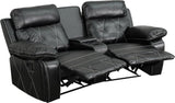Flash Furniture BT-70530-2-BK-CV-GG Reel Comfort Series 2-Seat Reclining Black Leather Theater Seating Unit with Curved Cup Holders - Peazz Furniture - 1