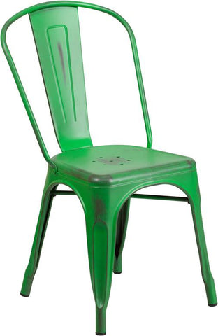 Flash Furniture ET-3534-GN-GG Distressed Green Metal Indoor Stackable Chair - Peazz Furniture