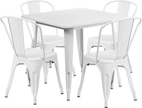 Flash Furniture ET-CT002-4-30-WH-GG 31.5'' Square White Metal Indoor Table Set with 4 Stack Chairs - Peazz Furniture