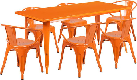 Flash Furniture ET-CT005-6-70-OR-GG 31.5'' x 63'' Rectangular Orange Metal Indoor Table Set with 6 Arm Chairs - Peazz Furniture
