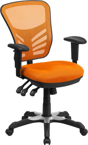 Flash Furniture HL-0001-OR-GG Mid-Back Orange Mesh Swivel Task Chair with Triple Paddle Control - Peazz Furniture