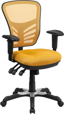 Flash Furniture HL-0001-YEL-GG Mid-Back Yellow-Orange Mesh Swivel Task Chair with Triple Paddle Control - Peazz Furniture