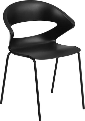 Flash Furniture RUT-4-BK-GG HERCULES Series 440 lb. Capacity Black Stack Chair - Peazz Furniture - 1