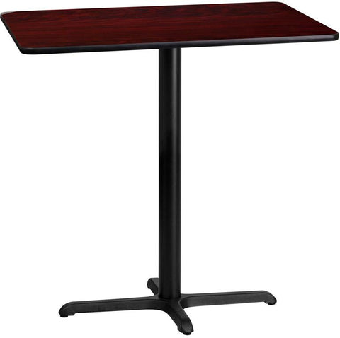 Flash Furniture XU-MAHTB-2442-T2230B-GG 24'' x 42'' Rectangular Mahogany Laminate Table Top with 22'' x 30'' Bar Height Table Base - Peazz Furniture