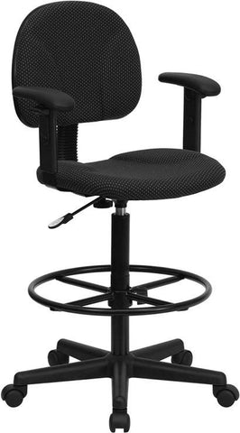 Black Patterned Fabric Multi-Functional Ergonomic Drafting Stool with Arms (Adjustable Range 26''-30.5''H or 22.5''-27''H) BT-659-BLK-ARMS-GG by Flash Furniture - Peazz Furniture