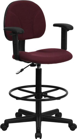 Burgundy Fabric Multi-Functional Ergonomic Drafting Stool with Arms (Adjustable Range 26''-30.5''H or 22.5''-27''H) BT-659-BY-ARMS-GG by Flash Furniture - Peazz Furniture