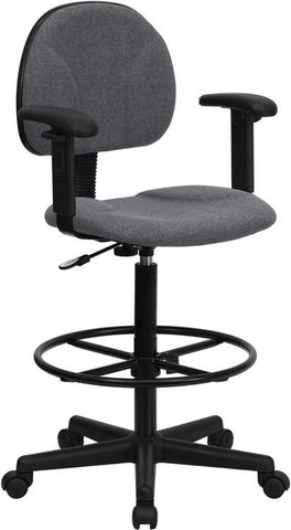 Gray Fabric Multi-Functional Ergonomic Drafting Stool with Arms (Adjustable Range 26''-30.5''H or 22.5''-27''H) BT-659-GRY-ARMS-GG by Flash Furniture - Peazz Furniture