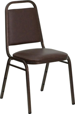 HERCULES Series Trapezoidal Back Stacking Banquet Chair with Brown Vinyl and 1.5'' Thick Seat - Copper Vein Frame FD-BHF-2-BN-GG by Flash Furniture - Peazz Furniture