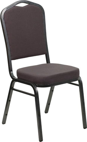 Flash Furniture FD-C01-SILVERVEIN-GY-GG HERCULES Series Crown Back Stacking Banquet Chair with Gray Fabric and 2.5'' Thick Seat - Silver Vein Frame - Peazz Furniture