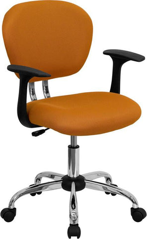 Mid-Back Orange Mesh Task Chair with Arms and Chrome Base H-2376-F-ORG-ARMS-GG by Flash Furniture - Peazz Furniture