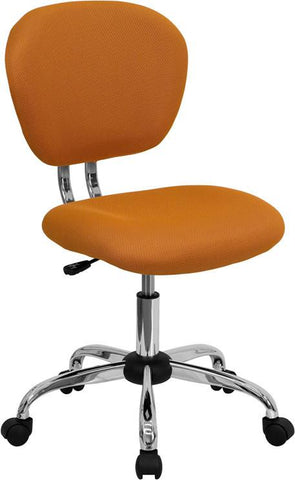 Mid-Back Orange Mesh Task Chair with Chrome Base H-2376-F-ORG-GG by Flash Furniture - Peazz Furniture