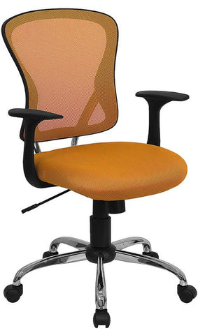 Mid-Back Orange Mesh Office Chair with Chrome Finished Base H-8369F-ORG-GG by Flash Furniture - Peazz Furniture