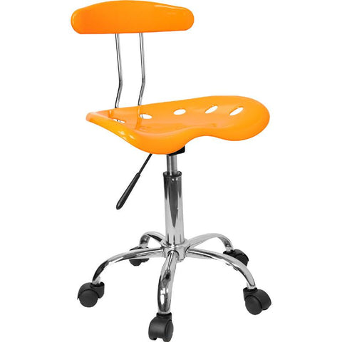 Vibrant Orange-Yellow and Chrome Computer Task Chair with Tractor Seat LF-214-YELLOW-GG by Flash Furniture - Peazz Furniture