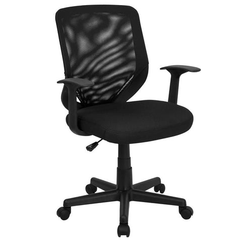 Mid-Back Black Mesh Office Chair with Mesh Fabric Seat LF-W-95A-BK-GG by Flash Furniture - Peazz Furniture