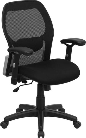Mid-Back Super Mesh Office Chair with Black Fabric Seat LF-W42B-GG by Flash Furniture - Peazz Furniture