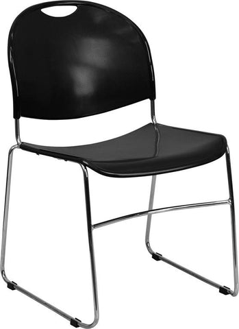 HERCULES Series 880 lb. Capacity Black High Density, Ultra Compact Stack Chair with Chrome Frame RUT-188-BK-CHR-GG by Flash Furniture - Peazz Furniture
