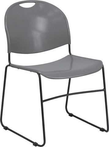 HERCULES Series 880 lb. Capacity Gray High Density, Ultra Compact Stack Chair with Black Frame RUT-188-GY-GG by Flash Furniture - Peazz Furniture