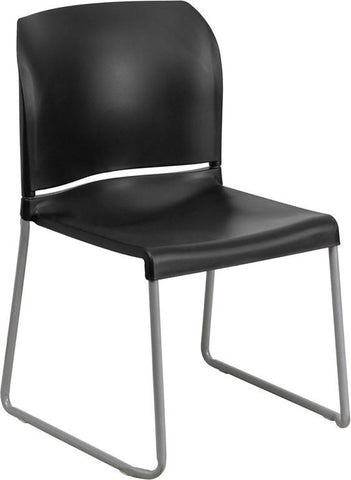 Flash Furniture RUT-238A-BK-GG HERCULES Series 880 lb. Capacity Black Full Back Contoured Stack Chair with Sled Base - Peazz Furniture