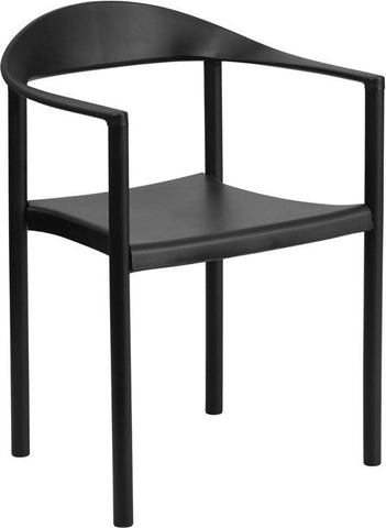 Flash Furniture RUT-418-BK-GG HERCULES Series 1000 lb. Capacity Black Plastic Cafe Stack Chair - Peazz Furniture