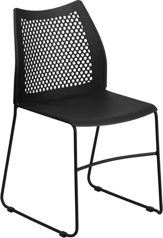 Flash Furniture RUT-498A-BLACK-GG HERCULES Series 661 lb. Capacity Black Sled Base Stack Chair with Air-Vent Back - Peazz Furniture