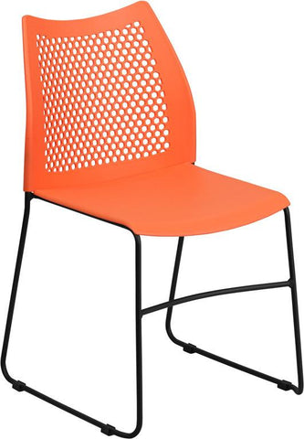 Flash Furniture RUT-498A-ORANGE-GG HERCULES Series 661 lb. Capacity Orange Sled Base Stack Chair with Air-Vent Back - Peazz Furniture