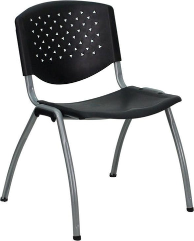 HERCULES Series 880 lb. Capacity Black Polypropylene Stack Chair with Titanium Frame Finish RUT-F01A-BK-GG by Flash Furniture - Peazz Furniture