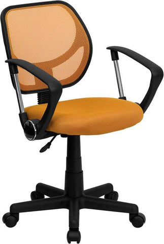 Mid-Back Orange Mesh Task Chair and Computer Chair with Arms WA-3074-OR-A-GG by Flash Furniture - Peazz Furniture